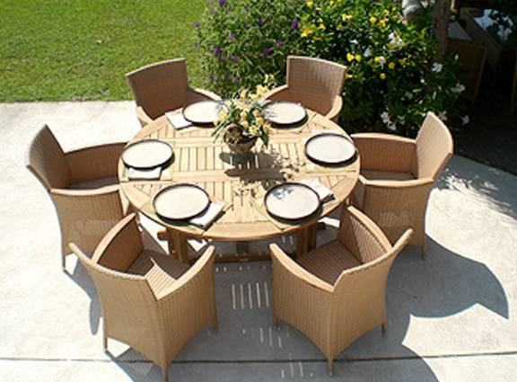 5 Foot Round Drop Leaf Table With 6 Helena Chairs. Teak Outdoor Patio  Furniture