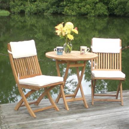 30 Inch Sailor Folding Table and Two Chairs Set. Teak Outdoor Patio Furniture & 30 Inch Sailor Folding Table and Two Chairs Set - SN1