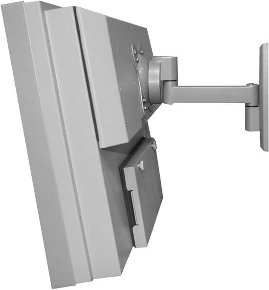 "Single-arm articulating wall mount for 32"" LCD TV."