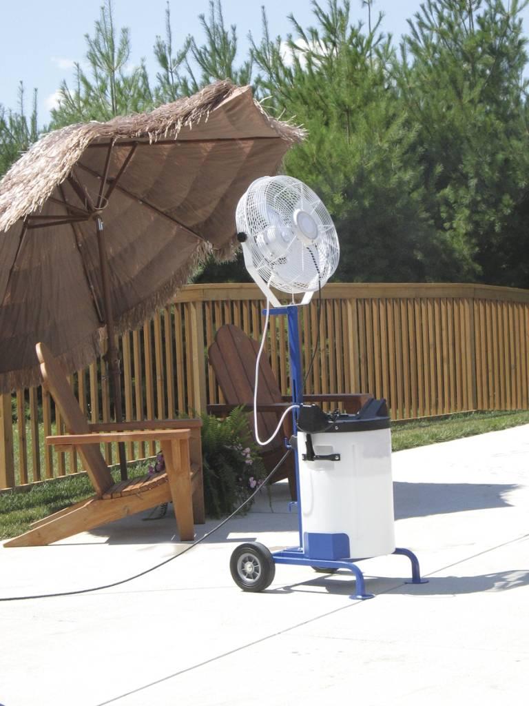 Heavy Duty Outdoor Misting Fan : Versamist portable misting system with cart pvm c