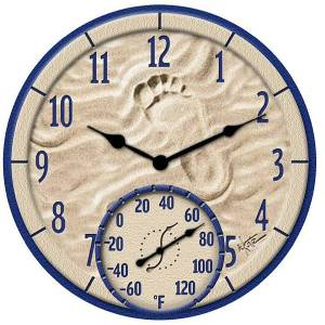 Poly Resin By The Sea Clock With Thermometer 91501