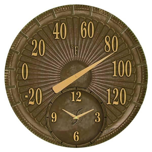 Indoor Outdoor Thermometer With Clock Bronze Cast