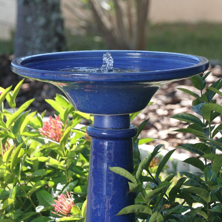 Solar Ceramic Athena Bird Bath 25372rm1