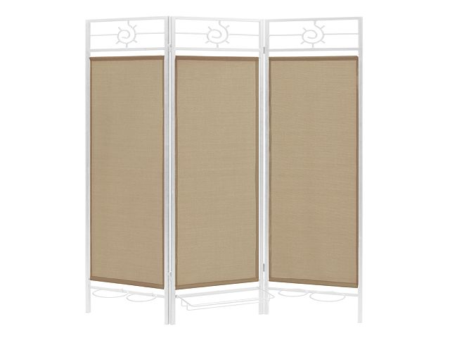 Sunburst patio privacy screen white frame beige fabric for Outdoor privacy screen white