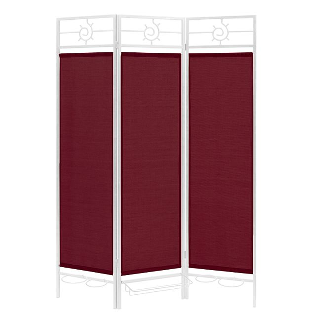 Sunburst patio privacy screen white frame burgundy for Outdoor privacy screen white
