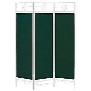 Sunburst Patio Privacy Screen White Frame Green Fabric