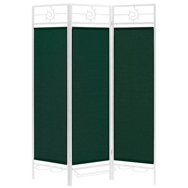 Sunburst patio privacy screen white frame green fabric for Cloth privacy screen