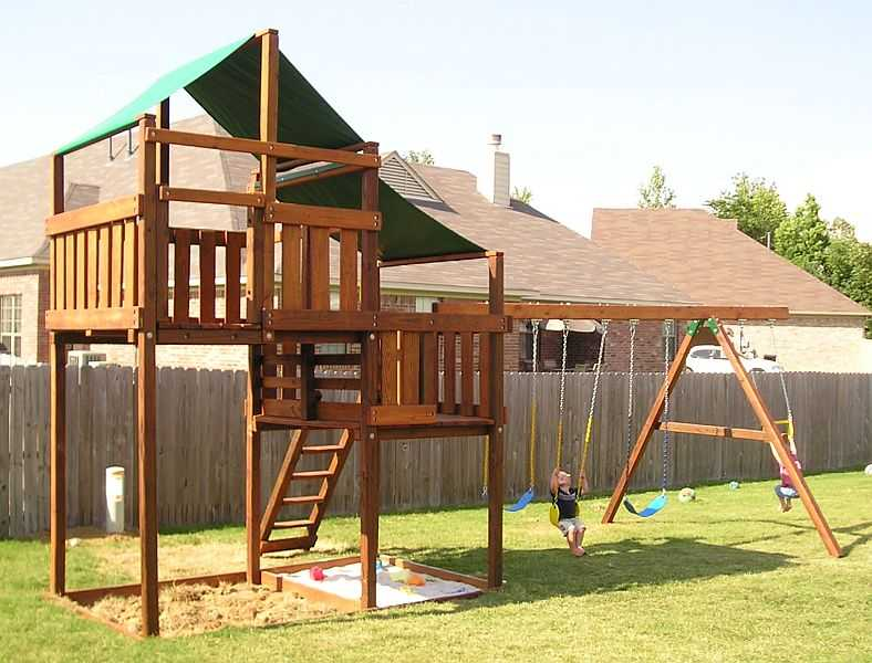 Adventurer swing set fort kits plans 5ft 7ft high deck for Wooden swing set plans