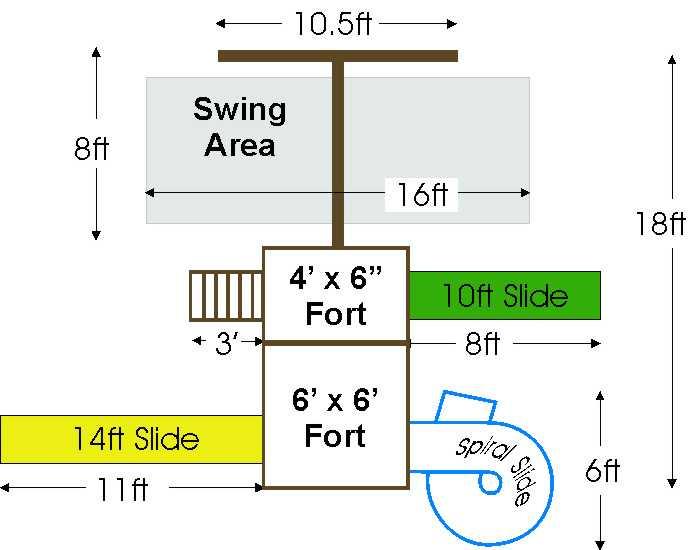 Adventurer Wooden Fort Kit With Swing Set 2 Swings Advf2
