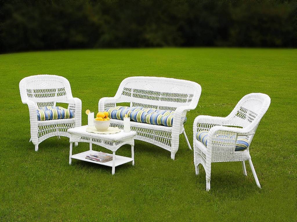 Tortuga portside coastal white wicker conversation set for Outdoor wicker furniture