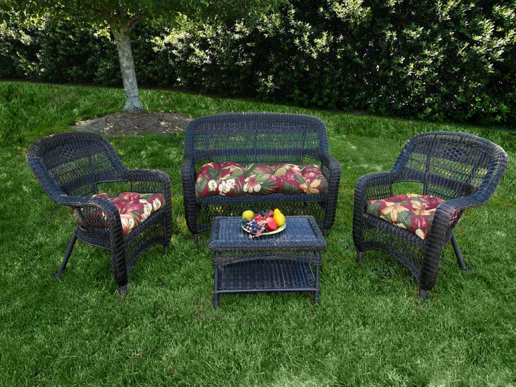 Tortuga Portside Dark Roast Wicker Conversation Set Click To Enlarge