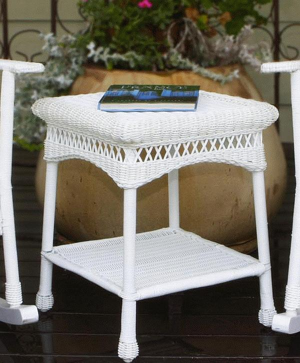 White Wicker Table