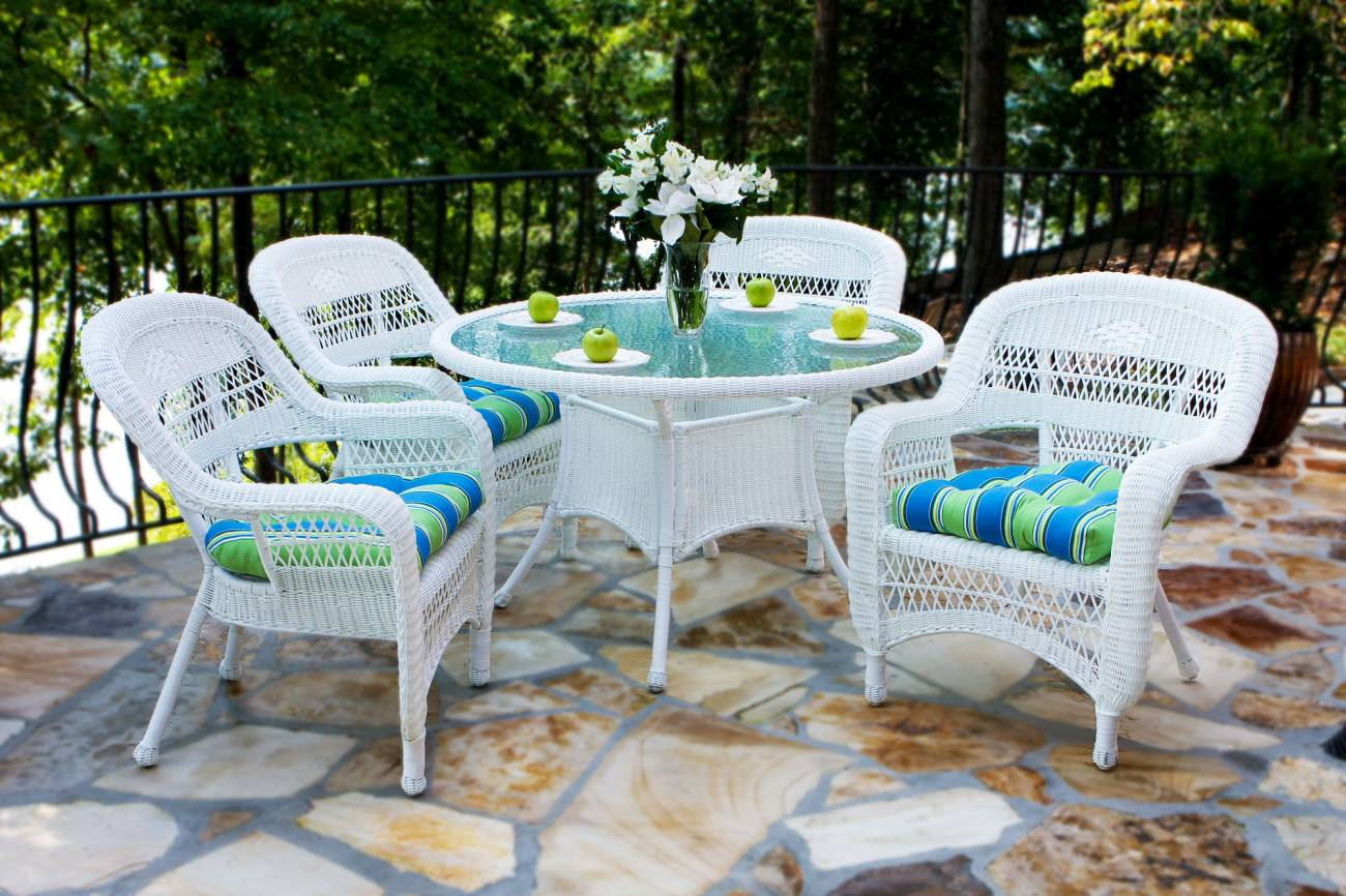 Tortuga Portside Coastal White Wicker Dining Set Psdwh Coastalwhite