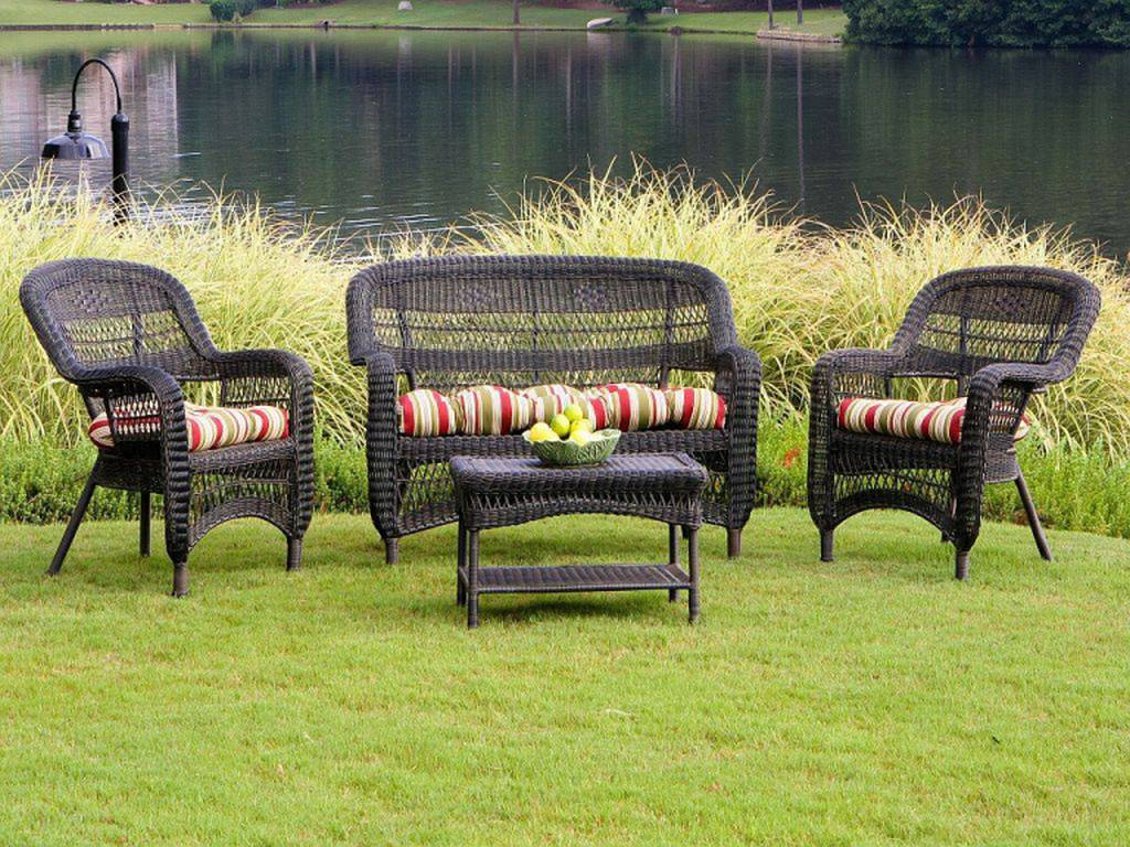 Tortuga portside dark roast wicker conversation set ps4s for Garden patio sets
