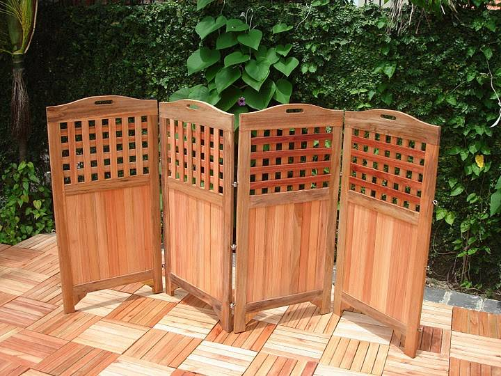 Teak privacy screen v163 for Patio deck privacy screen