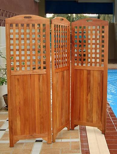 tall teak privacy screen v306