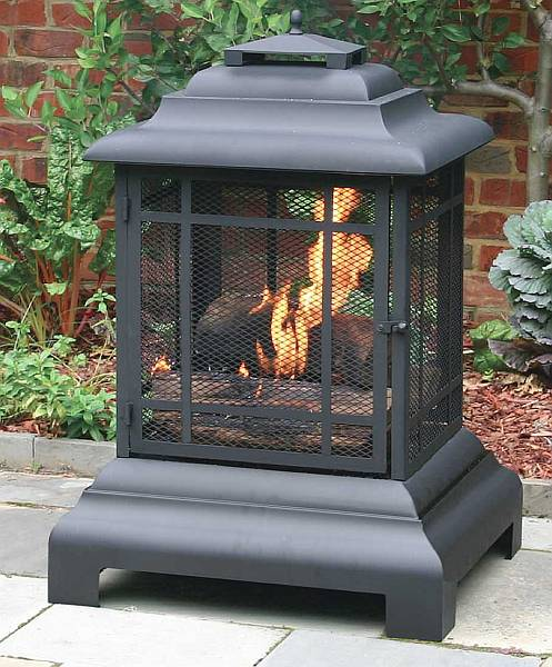 Large Black Outdoor Fireplace Firehouse With Protective