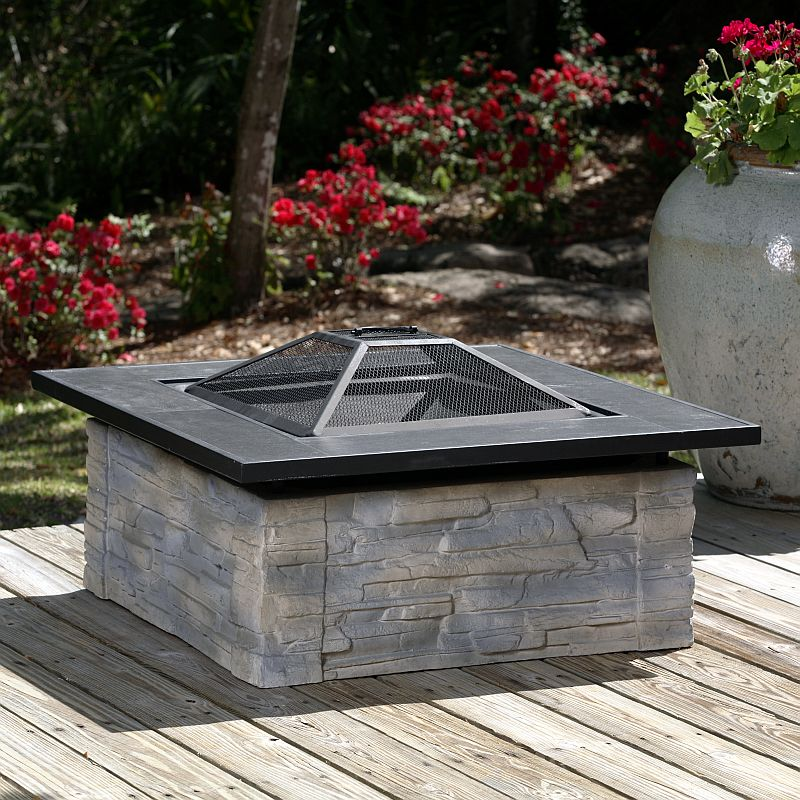Square Fiberglass Stacked Stone Fire Pit 60275